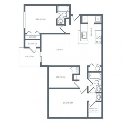 1100 square foot renovated three bedroom two bath apartment floorplan image
