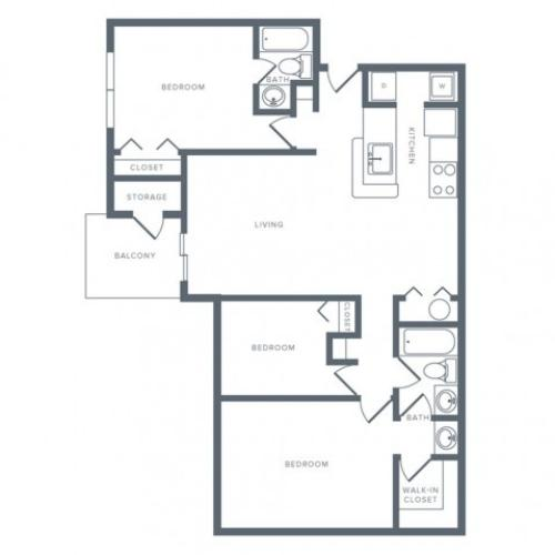 1100 square foot three bedroom two bath apartment floorplan image