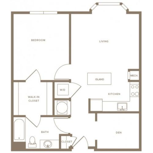 864 square foot one bedroom one bath with den apartment floorplan image