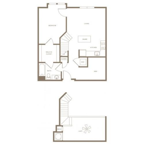 1011 square foot one bedroom one bath loft apartment floorplan image