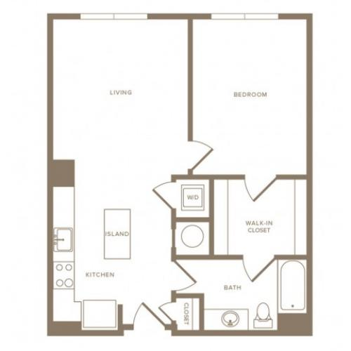 760 to 785 square foot one bedroom one bath apartment floorplan image