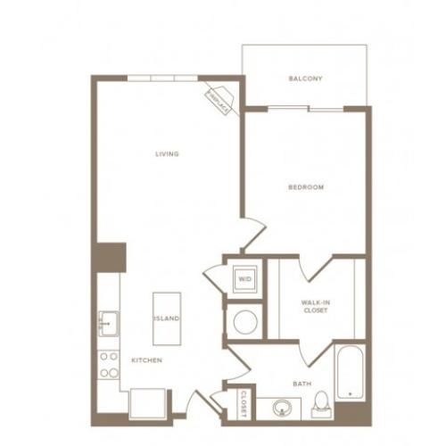 767 to 787 square foot one bedroom one bath apartment floorplan image