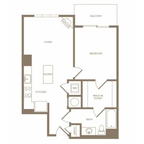 732 square foot one bedroom one bath apartment floorplan image