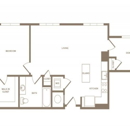 976 square foot one bedroom one bath with den partment floorplan image