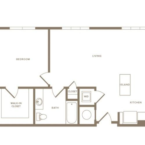 823 to 860 square foot one bedroom one bath apartment floorplan image
