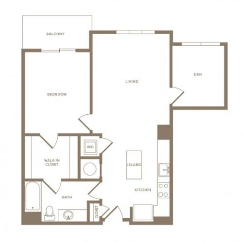 865 square foot one bedroom one bath with den apartment floorplan image