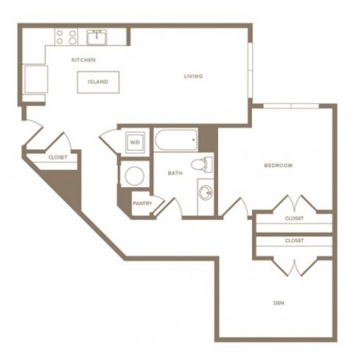 935 square foot one bedroom one bath with den apartment floorplan image