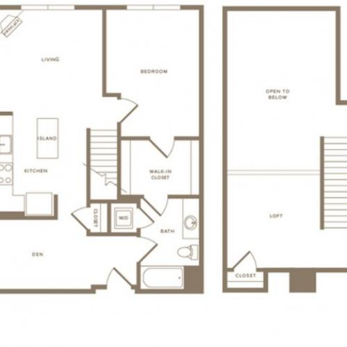 996 square foot one bedroom one bath with den loft apartment floorplan image