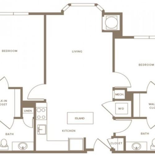 1148 square foot two bedroom two bath hearing impaired apartment floorplan image