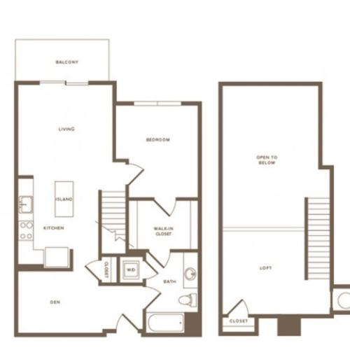 1052 square foot one bedroom one bath with den loft apartment floorplan image