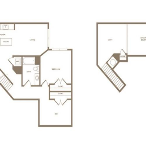 1083 square foot one bedroom one bath with den loft apartment floorplan image