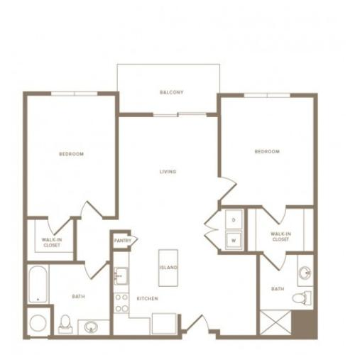 1165 to 1181 square foot two bedroom two bath apartment floorplan image