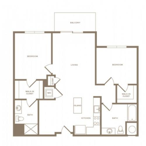 1125 square foot two bedroom two bath apartment floorplan image