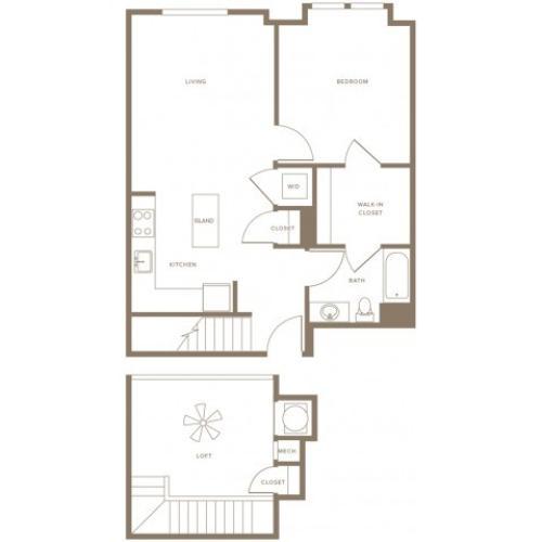 868 to 1002 square foot one bedroom one bath with bump-out bedroom window loft apartment floorplan image