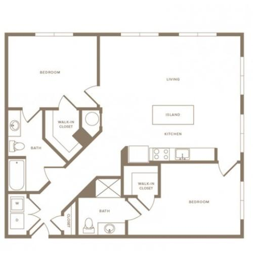 1200 to 1283 square foot two bedroom two bath apartment floorplan image