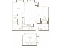 1110 to 1454 square foot two bedroom two bath with bump-outs in living room and master bedroom loft apartment floorplan image