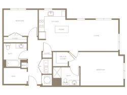1233 to 1247 square foot two bedroom two bath with den apartment floorplan image