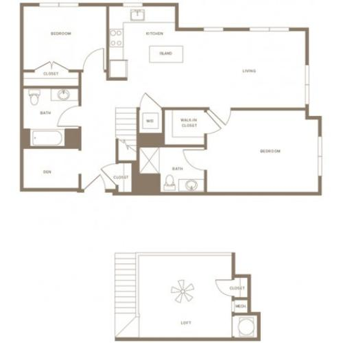 1423 square foot two bedroom two bath with den and loft apartment floorplan image