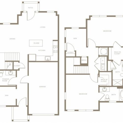 1492 to 1575 square foot two bedroom two and a half bath with den townhome floorplan image