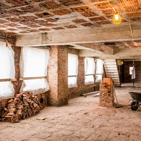 Exposed brick during renovation