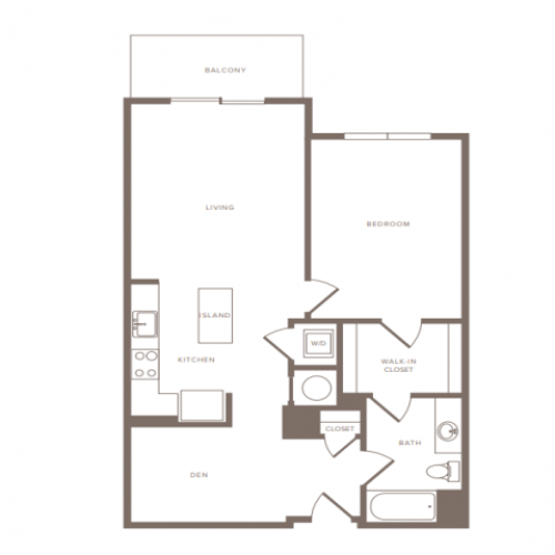 839 to 889 square foot one bedroom one bath with denapartment floorplan image
