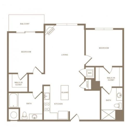 1145 square foot two bedroom two bath apartment floorplan image