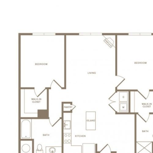 1200 to 1256 square foot two bedroom two bath apartment floorplan image