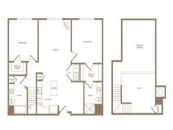 1368 square foot two bedroom two bath loft apartment floorplan image