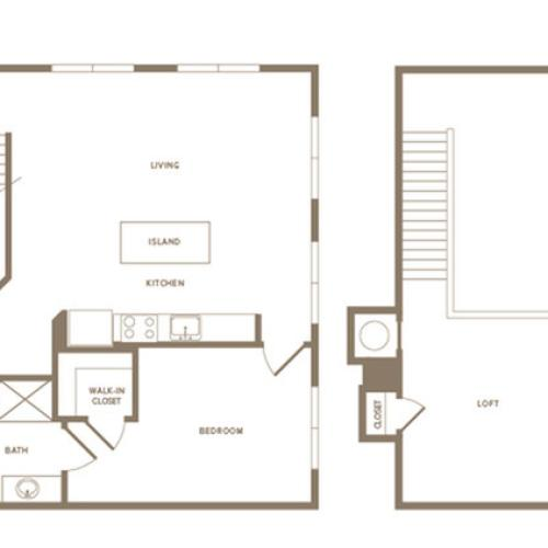 1376 to 1476 square foot two bedroom two bath loft apartment floorplan image