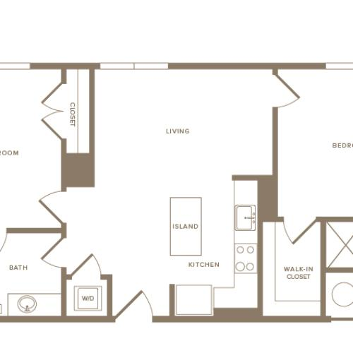 970 square foot two bedroom two bath apartment floorplan image