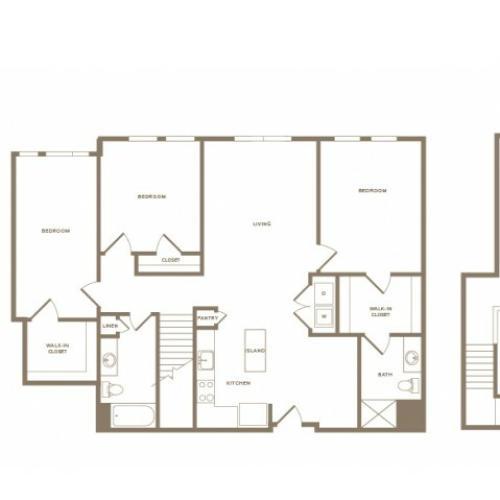 1662 square foot three bedroom two bath loft apartment floorplan image