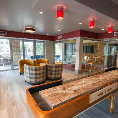 Shuffleboard and Social Seating in our Party Pod| Modera Observatory Park
