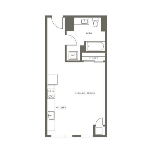 496 square foot studio one bath apartment floor plan image