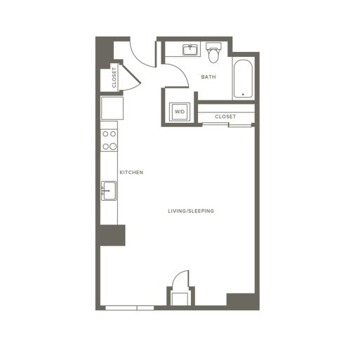 564 square foot studio one bath apartment floor plan image