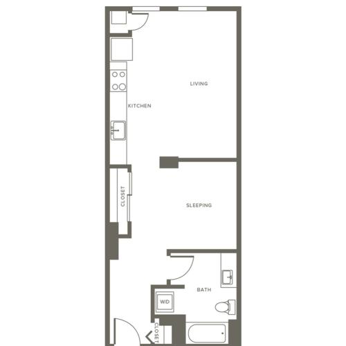 611 square foot one bedroom one bath apartment floorplan image