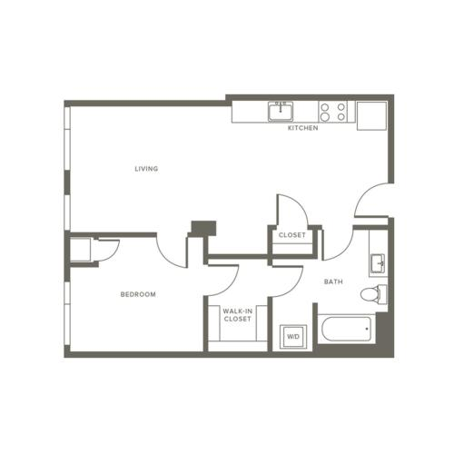 690 square foot one bedroom one bath with walk-thru closet to bath apartment floorplan image