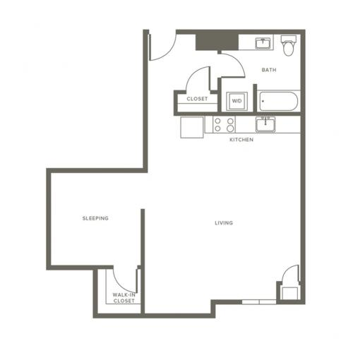 747 square foot one bedroom one bath apartment floorplan image