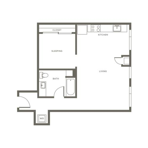 655 square foot one bedroom one bath apartment floorplan image