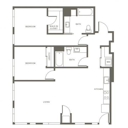 1134 square foot renovated two bedroom two bath with master walk-in closet floor plan image