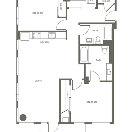 1209 square foot two bedroom two bath apartment floorplan image