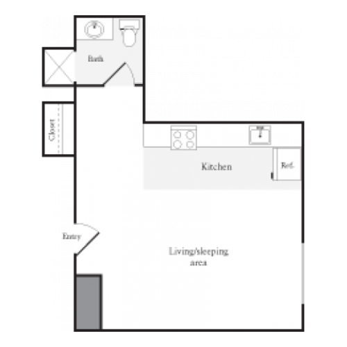 353 square foot studio one bath floor plan image