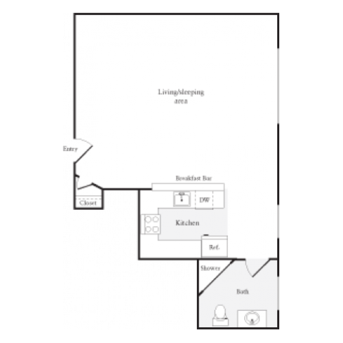 458 square foot studio one bath floor plan image