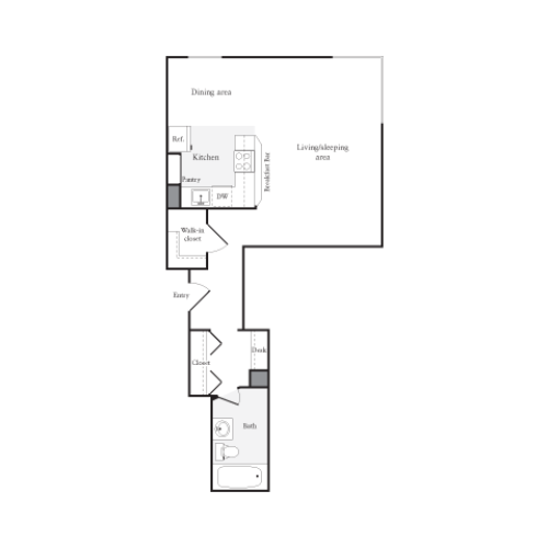 504 square foot studio one bath floor plan image