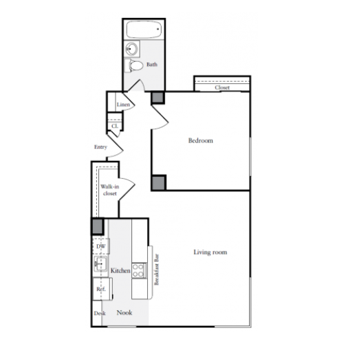 659 square foot one bedroom one bath apartment floorplan image
