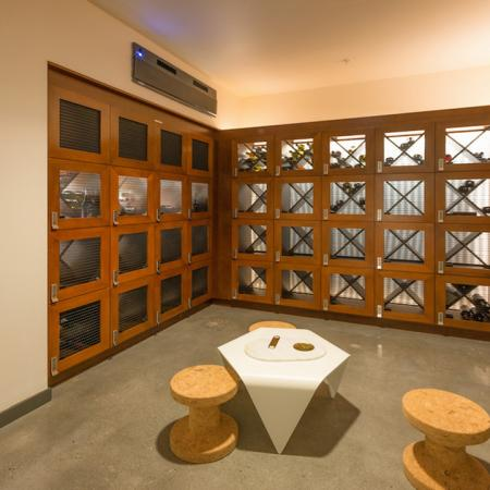 Wine cellar and seating area