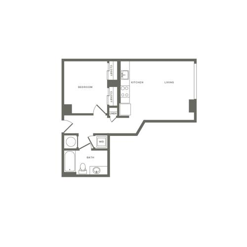 599 square foot Junior one bedroom one bath apartment floorplan image