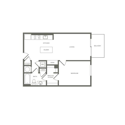 745 square foot one bedroom one bath balcony apartment floorplan image