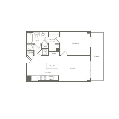 745 square foot one bedroom one bath large balcony apartment floorplan image