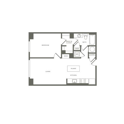745 square foot one bedroom one bath apartment floorplan image