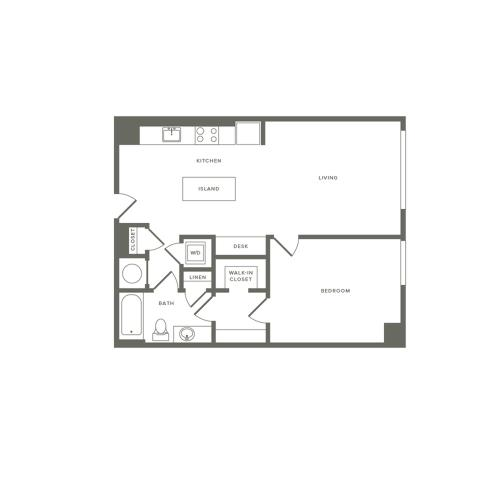 722 square foot one bedroom one bath apartment floorplan image
